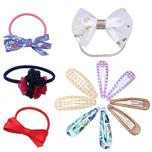 Baby Ponytail Holders Toddler Elastic Hair Ties Bands Clips Barrettes With Flower Bows Gift Set