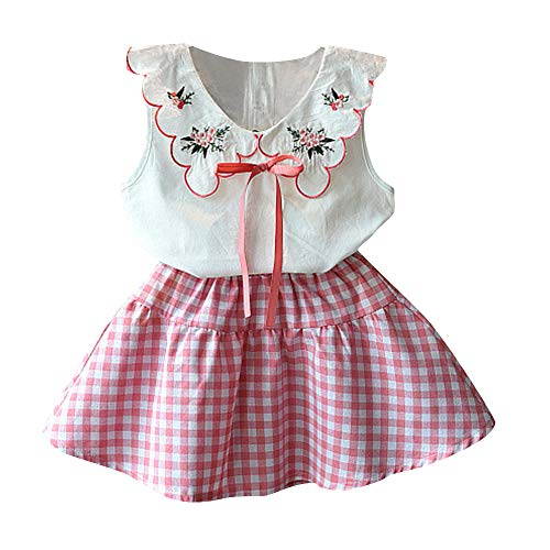 Baby Clothing Kids Summer Clothes Girls Flower Printing Vest + Pure Color Pants Children Clothing Set (Pink-e, ()