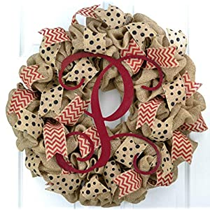 Red Black Burlap Vine Monogram Polka Chevron Everyday Year Round Door Wreath - LOTS OF COLORS!! 62