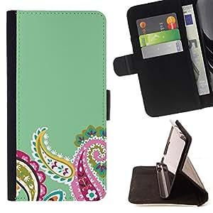 Ihec-Tech / Negro Flip PU Cuero Cover Case para Sony Xperia Z1 L39 - Diseño floral verde rosado del resorte