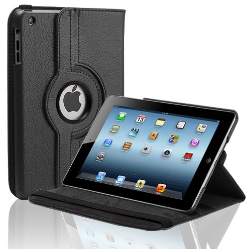 CE Compass Swivel-N-Go 360 Rotating Leather Case Cover Stand For Apple iPad Mini (Black)