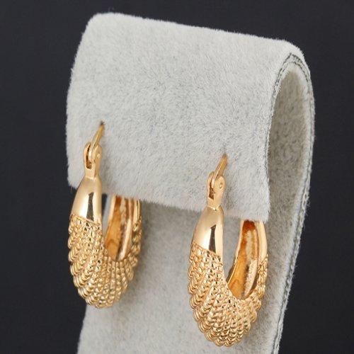 Yazilind Charming 18K Gold Plated Simple Design Smal Hoop Earrings