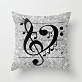 Vintage Music Note Canvas Throw Pillow Covers Decorative Pillowcase 18 x 18 for Girls Bedrooms