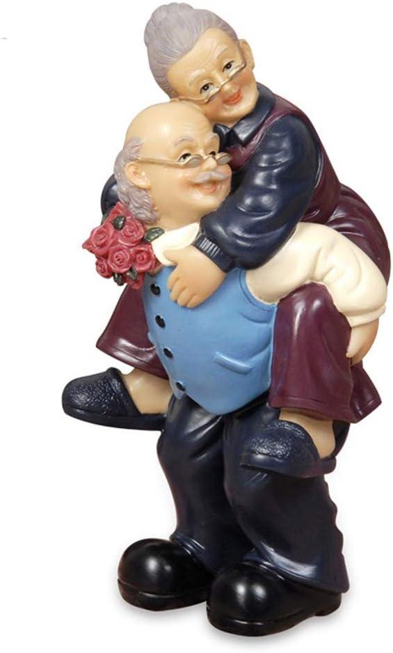 letsgood Creative Handmade Figurines Anniversary Gift - Handcrafted Resin Elderly Couple Sculpture for Anniversary, Valentine's Day, Wedding, Birthday, Home Decor (Style 4: Piggyback)