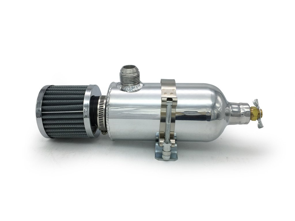 HotRod99 Aluminum Breather Catch Tank with Breather Filter Oil Catch Can With Single AN12 Fittings Black