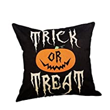 Kimloog Hot Sale! Halloween Throw Pillow Cases, Cotton Linen Sofa Pumpkin Smile Face Ghosts Pattern Cushion Covers (E)