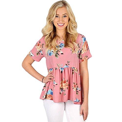 Pullover Felpa Tops Manica Allentato Qin shirt T Lunga Donna amp;x Pink Cxq t Shirt Informale wPqaCaR