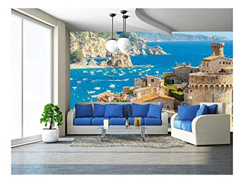 wall26 - The Famous Resort of Tossa De Mar on The Costa Brava. - Removable Wall Mural | Self-Adhesive Large Wallpaper - 100x144 inches