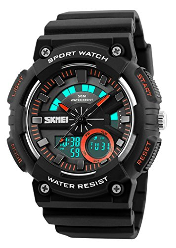 Men Sports Watches Chrono Back Light Watch Shock Resistant Dual Display Wristwatches 50M Waterproof (Orange) Alarm Chrono Watch Instructions