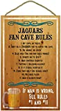 Jacksonville Jaguars 16 inch x 10 inch Fan Cave Rules Wood Sign