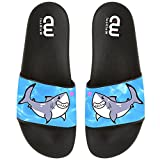 Cartoon Cute Shark With Heart Summer Slide Slippers For Boys Girls Soft Open-Toe Sandals Casual Shoes