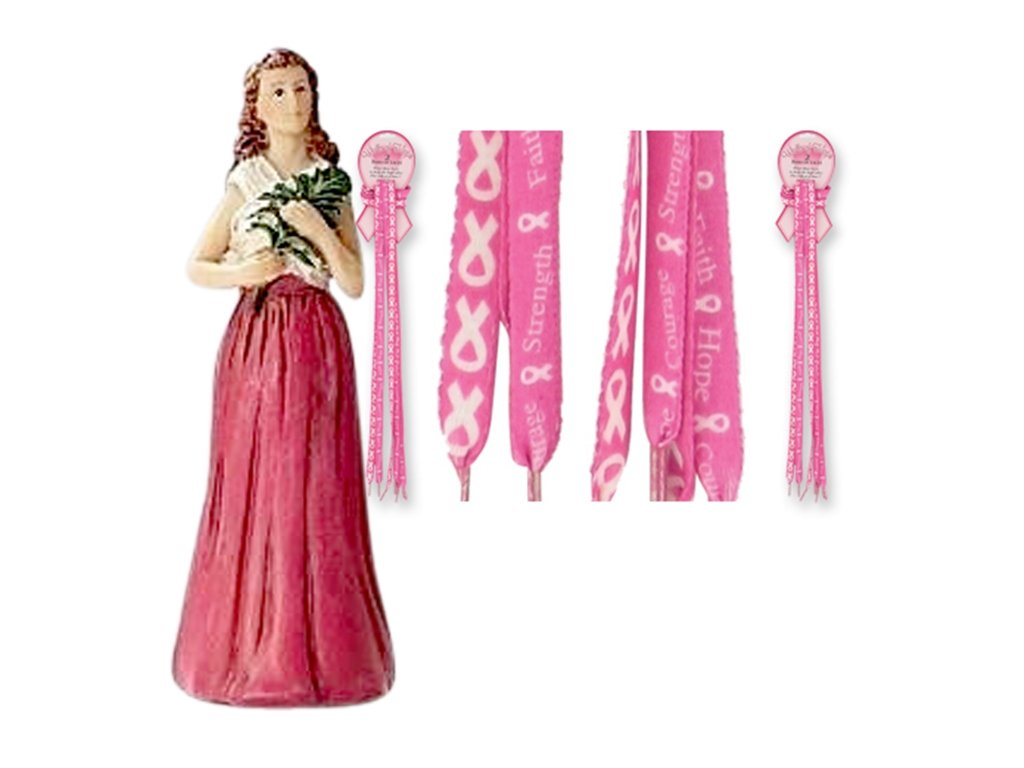 Saint Agatha Patron of Breast Cancer Victims 4'' Statue with Blessed Prayer Card and Free 2 Pairs of Shoe Laces Pink Ribbon Walk for Hope