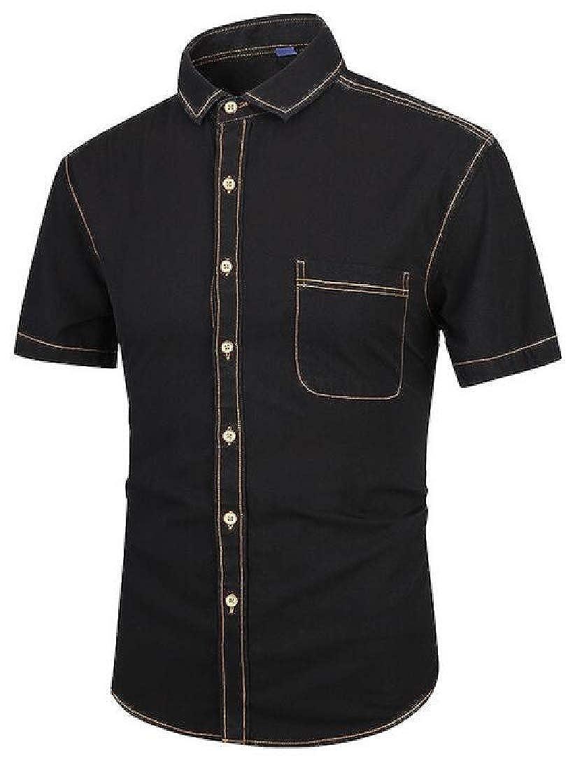OTW Men Summer Lapel Short Sleeve Slim Fit Cotton Button Up Dress Shirt