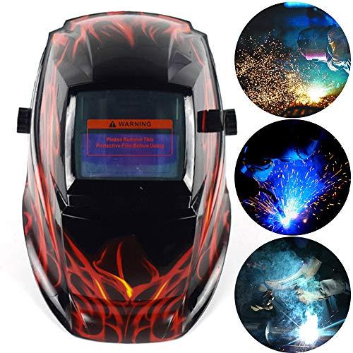 Welding Mask,Full Shade Solar Power Auto Darkening Welding Welder Cap Breathable Mask Helmet Grinding Welder Mask Shield Flaming Skull Design (red)]()