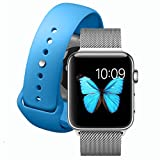 ELECAND Milanese Loop Band for Apple Watch 42mm+Bonus Blue Sport Band M/L-Stainless Steel Strap for Iwatch-Men and Women - Magnetic Replacement Bands for Series 1 / 2 Series 3 Sport and Edition-Silver