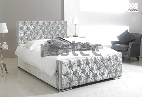 Comfycraft Florida Upholstered Silver Crush Velvet Bed Frame In