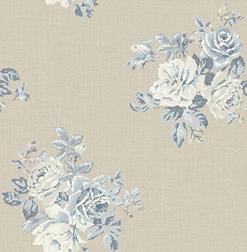 Wallpaper Classic Cottage Blue Floral Bouquet on Beige Background ()