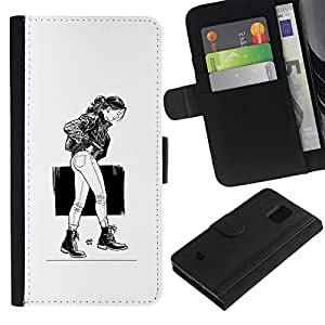 EJOY---Tirón de la caja Cartera de cuero con ranuras para tarjetas / Samsung Galaxy S5 Mini, SM-G800 / --Chica Emo Sexy