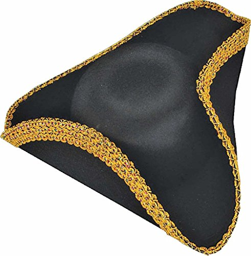 [Deluxe Tricorne Tricorn Tricorner Pirate Colonial Revolutionary War Black Hat] (Adult Colonial Tricorn Hat)