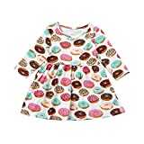 Birdfly Baby Fall Winter Girl Floral Printed T-Shirt Dress Toddler Fun Dresses for Fall Holiday Party Pageant
