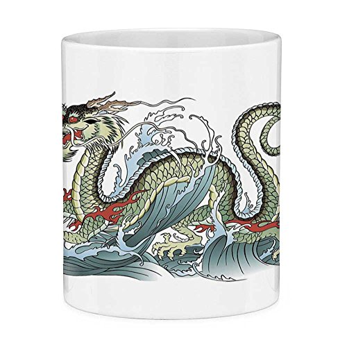 Funny Coffee Mug with Quote Japanese Dragon 11 Ounces Funny Coffee Mug Far Eastern Water Dragon Splashing Waves Legend Creature Pale Green Vermilion Sage