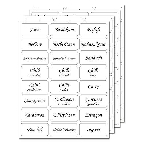 144 Gewürzetiketten 33x15mm Transparent Uv Beständig Hohe Klebekraft 100 Bedruckt 44 Blanko