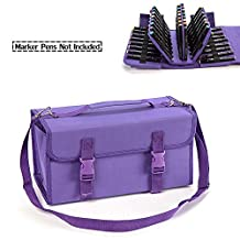 Monoshop 120 Slots Portable Marker Pen Case Lipstick Organizer, Markers Carrying Bag for Copic Markers and Prismacolor Markers (Purple)
