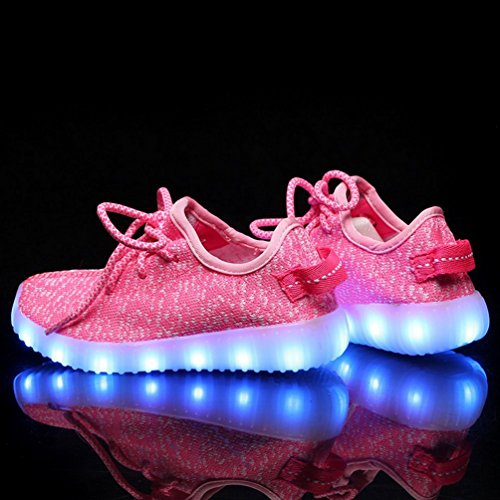 Z9AJKAJ Luminous USB Charging Boys Pink 4a 7 Shoes LED Light Fashion Colors Sneakers Knit Girls q41dHdwnYx