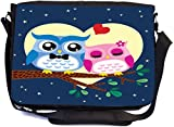 Rikki Knight Owls Bird Couple in Love at Tree Design Multifunctional Messenger Bag - School Bag - Laptop Bag - with Padded Insert for School or Work - Includes Matching Compact Mirror
