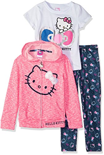 Hello Kitty Girls' Toddler 3 Piece Zip Up Hoodie Legging Set with T-Shirt, Pink, 4T