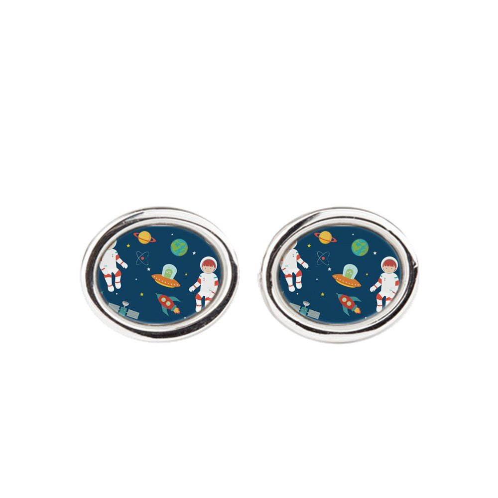 Astronauts Planets Moon Space Oval Royal Lion Cufflinks