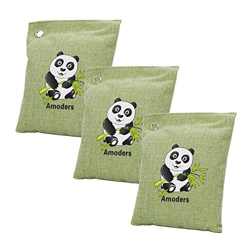 orgor 200 Gram Car Air Freshener. Bamboo Charcoal Air Purifying Bag. Air Purifier. Odor Absorber. Odor Eliminator for Cars, Refrigerator, Closets, Bathrooms and Pet Areas. (Green, 3 Pack)