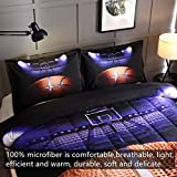 HTgroce 3D Basketball Court Comforter Quilt Set for Teen Boys Girls Twin Size(68''x86''),2PCS,1 Quilt+1 Pillow Sham