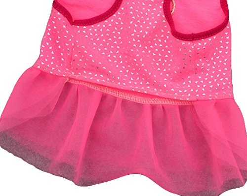 Ollypet Dog Dresses for Small Pets Cat Puppy Clothes for Girls I Love Mommy Summer Outfit Pink Shirt Cute Apparel S