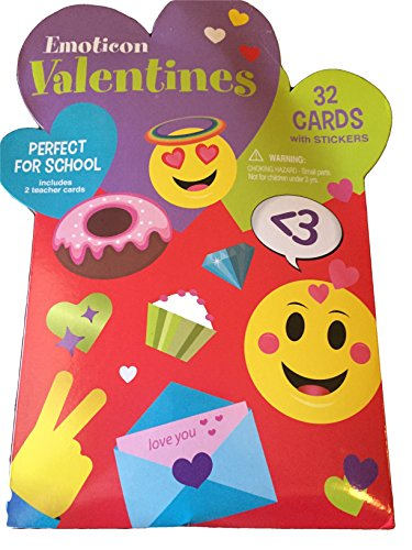 Emoticon Emoji 32 Class Valentine Cards with Stickers