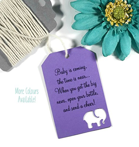 Baby Is Coming Shower Favor Tags   Purple Baby Elephant Tags  Set Of 20