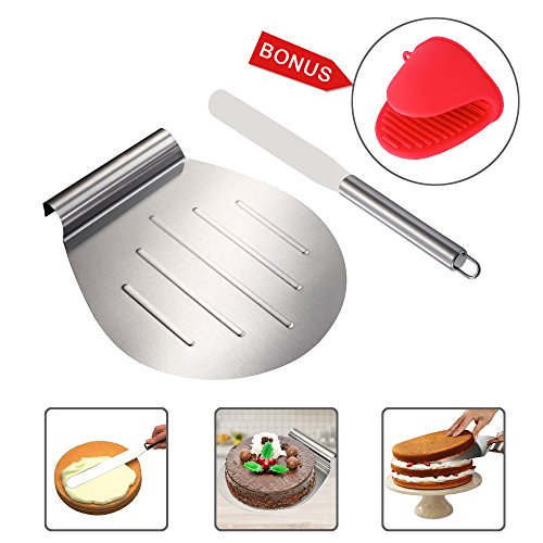 KALREDE Cake Lifter - Cake Shovel Transfer and Butter Knife - Cake Tray Moving Plate -10 Inches Stainless Steel - Ideal for Cakes, Pizzas, Pies,Tarts - Baking Tool Accessories