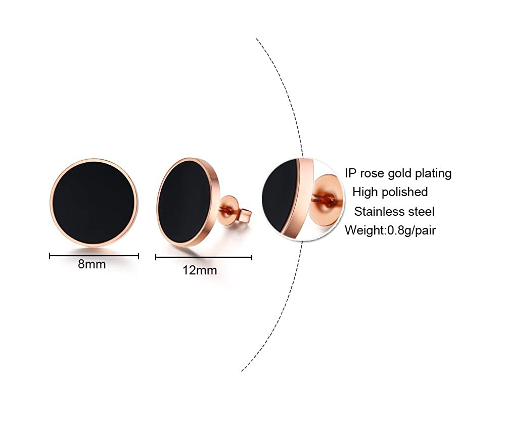 Delicate Rose Gold Plated Stainless Steel Minimalist Round Black Button Dot Stud Earrings for Women Girl