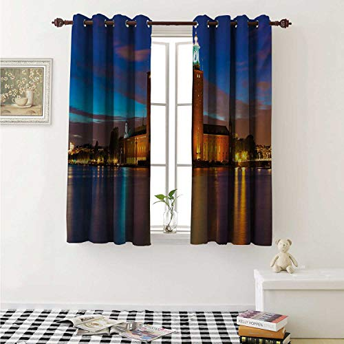shenglv European Waterproof Window Curtain Stockholm Scenic Night at City Hall Old Town Enchanted Town Sweden View Curtains for Party Decoration W84 x L72 Inch Blue Cinnamon Mauve
