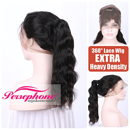 [Persephone Best Body Wave 360 Human Hair Lace Wigs With Natural Hairline Brazilian Remy Hair 360 Lace Frontal band wig For Women Free Parting 150 Density Natrual Color 16] (Cheap Color Wigs)