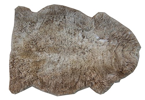 Schaffell Teppich CAPPUCCINO Naturbunt ungefärbt naturbelassen hellbraun braun beige Dekofell Lammfell Länge 90 / 100 cm