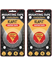 2pcs of KLAPiT Super Tape Slim 3 Meter Holds 150LB/68kg, Double Sided Tape Heavy Duty, Mounting Tape Adhesive Super Strong with Nano Technology for Wall Tape Carpet Tape - Waterproof, Transparent Tape