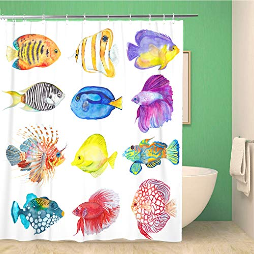 Awowee Bathroom Shower Curtain Watercolor Colorful Fishes Flame Angelfish Copperband Butterflyfish Purple Mask 66x72 inches Waterproof Bath Curtain Set with ()