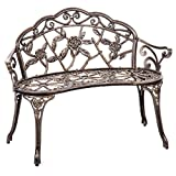 BestMassage Patio Garden Bench Bronze Park Yard Furniture Cast Aluminum Rose Antique For Sale