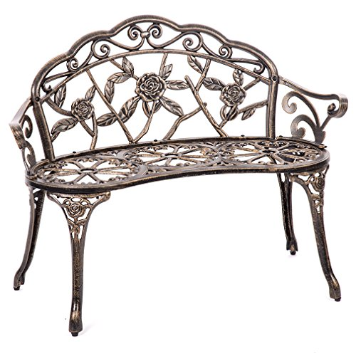 BestMassage Patio Garden Bench Bronze Park Yard Furniture Cast Aluminum Rose Antique
