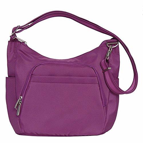 Travelon Anti-Theft Cross-Body Bucket Bag, Purple