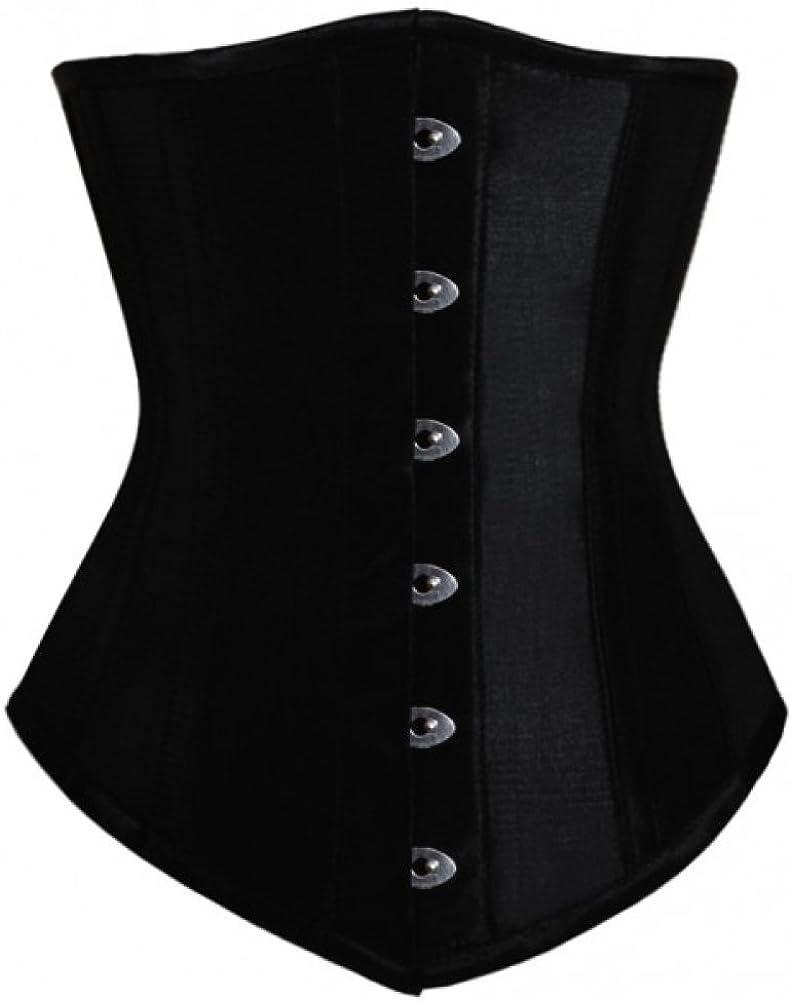 Black Satin Gothic Plus Size Costume Waist Shaper Bustier Long Underbust Corset