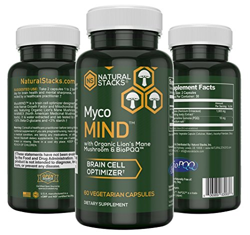 Mental Performance – Natural Stacks MycoMIND Brain Cell Optimizer Capsules (60 Count) – May Boost Memory – Lion's Mane Mushroom Extract for Mental Clarity – BioPQQ- Extra Antioxidant Boost… For Sale