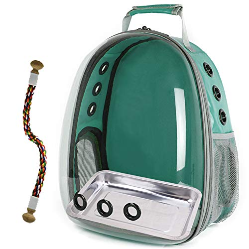 halinfer Bird Carrier Cage, Bird Travel Backpack with Stainless Steel Tray and Standing Perch (Green)