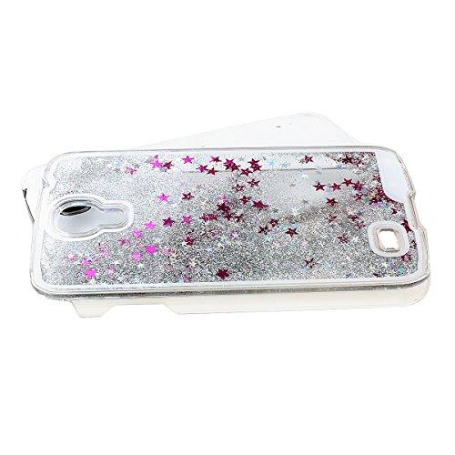 Samsung Galaxy S4 Case [Liquid], NSSTAR Creative Design Transparent Flowing Bling Glitter Quicksand Stars Hard Plastic Transparent Case Cover for Samsung Galaxy S4 SIV I9500 (Silver)